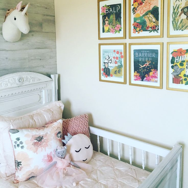 Our princess pillow on the most adorable vintage bed in the most adorable little girls room!