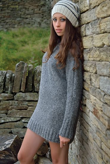 Tempest  Desire by Kim Hargreaves DOLMAN SLEEVED TUNIC KNITTED IN ROWAN ALPACA COTTON