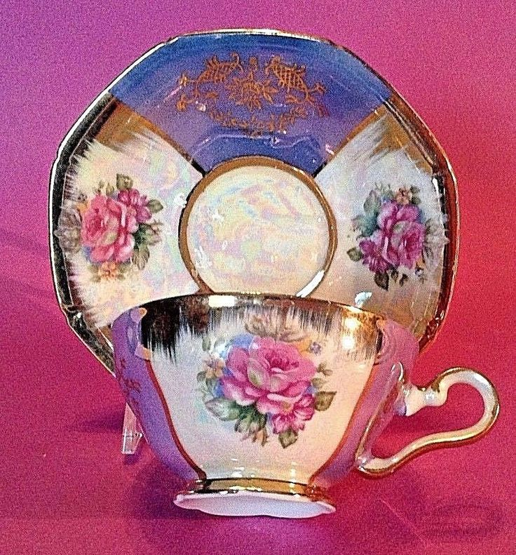 Very Iridescent Demitasse Cup And Saucer. Hand Painted Blue And White Lustre. Made In Japan. To Canada Australia And Japan. With Pink Roses And Gilded Accents. | eBay!