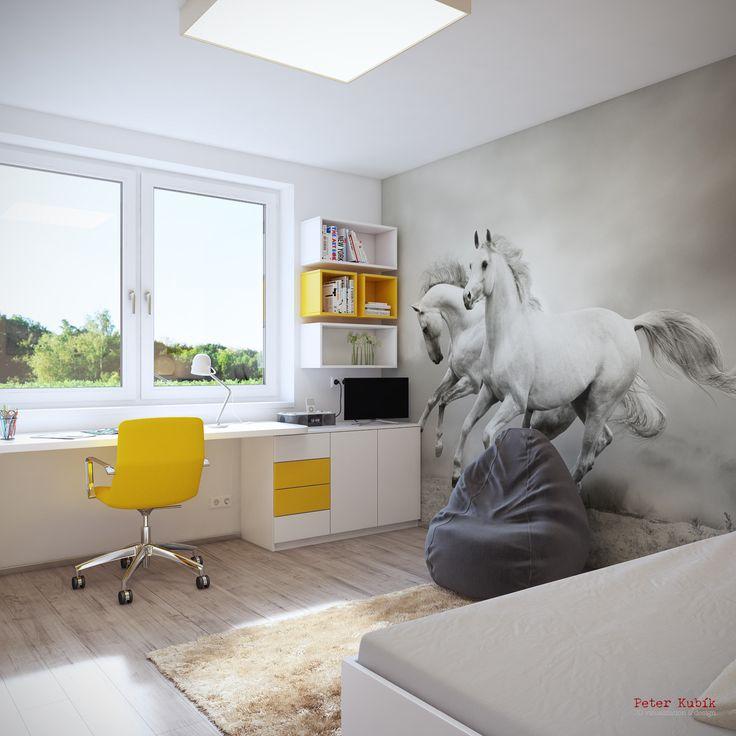 Detská izba s fototapetou s motívom koní