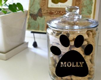 Dog Treat Vinyl Decal for Container (Choice of Paw Print or Bone)