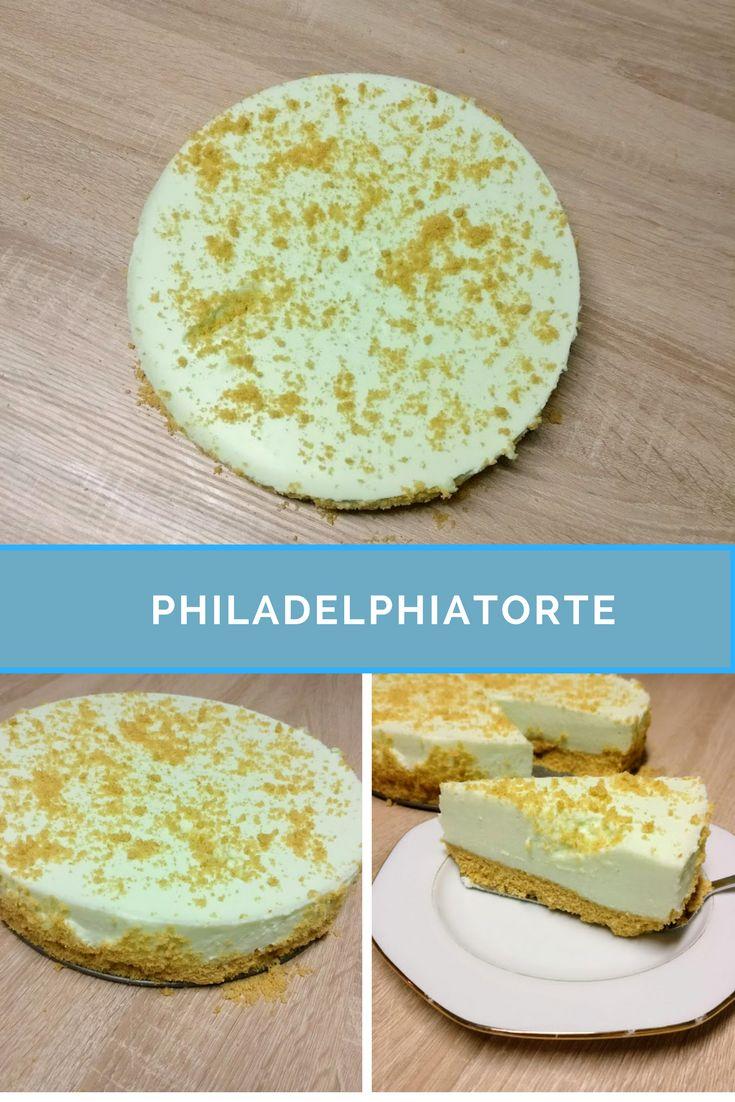 Rezept - Philadelphiatorte ohne Backen  1. 1 Pck. Götterspeise ( Himbeere,Kirsch,Waldmeister,Zitrone)  2. 1 EL Zucker  3. 375 ml Wasser  4. 24 Löffelbiskuit  5. 125g Butter  6. 200g  Frischkäse  7. 1 Tasse Zucker  8. 1 Pck Vanillezucker  9. 2 Zitronen nur Saft oder Zitronensaft  10. 500ml Sahne  11.2 EL Gelatine (Pulver)
