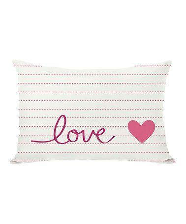 Look at this #zulilyfind! Pink & Cream  'Love' Throw Pillow #zulilyfinds