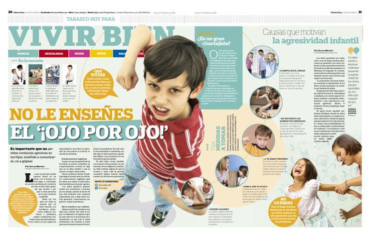 pagina doble sobre agresividad infantil del Diario Tabasco Hoy