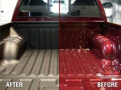 Custom Spray-On Bedliners --> Our custom spray-on bedliner material is like no other. Not only is it the best choice for your truck bed, but keep in mind, there are endless possibilites for a liner. We have sprayed the interiors of Jeeps and other off-road type vehicles, work trucks, fender flares, bumpers, rod tubes....the list is truly endless. If you can think it, we can do it - within reason of course!