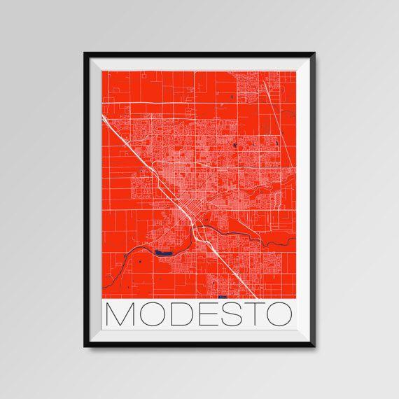 Modesto map, California, red, Modesto print, Modesto poster, Modesto map art, Modesto city maps, Modesto Minimal Wall Art, Modesto Office Home Décor, black and white custom maps, personalized maps