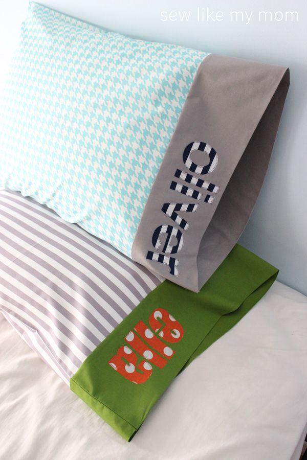 Sew Like My Mom | Personalized Applique Pillowcase TUTORIAL #iloverileyblake #FabricIsMyFun