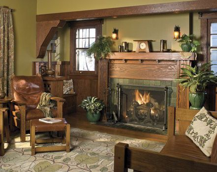 Nice fireplace mantel arts crafts craftsman bungalow for Bungalow fireplace ideas
