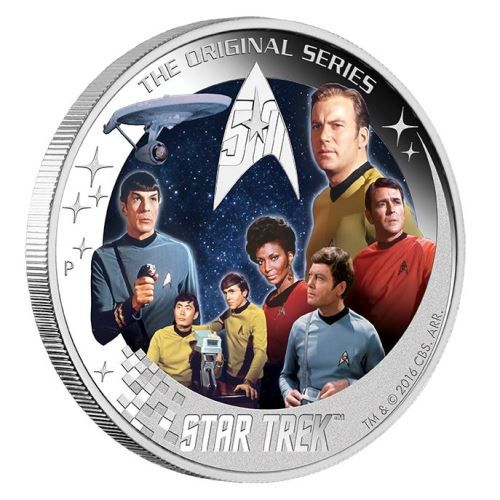 An awesome silver coloured coin featuring members of the starship U.S.S. Enterprise NCC-1701 | Star Trek: The Original Series – U.S.S. Enterprise NCC-1701 Crew 2016 2oz Silver Proof Coin | The Perth Mint
