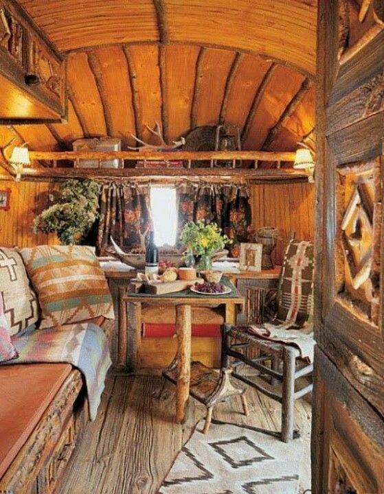 Rustic isn't just for cabins and camps - works in trailers too! www.highroadorganizers.com