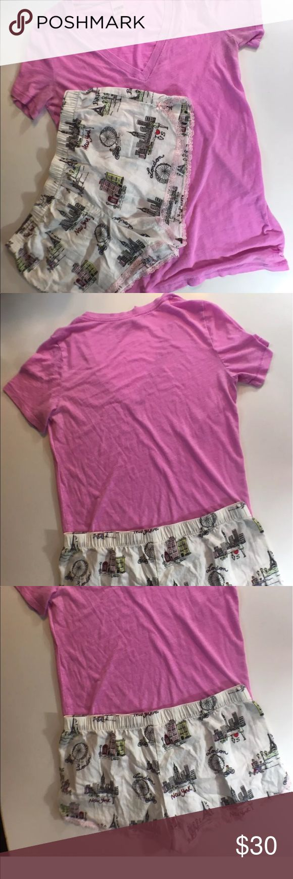 "VS Shorts Sz M New York Paris Love Pink Shirt Victoria's Secret Shorts Sz M Graphics New York London Paris Love Pink M Shirt  Shorts 16"" Waist 10"" Length  Shirt 20"" arm pit to arm pit 28"" Length PINK Victoria's Secret Intimates & Sleepwear Pajamas"