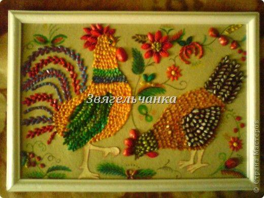 Картина панно рисунок Аппликация картина из разных семян Семена фото 1