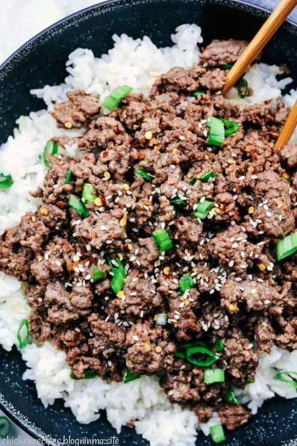 Korean Ground Beef And Rice Bowls Dinnerrecipe Food Amazingrecipe Easyrecipe Rice Bowls Recipes Korean Ground Beef Beef And Rice