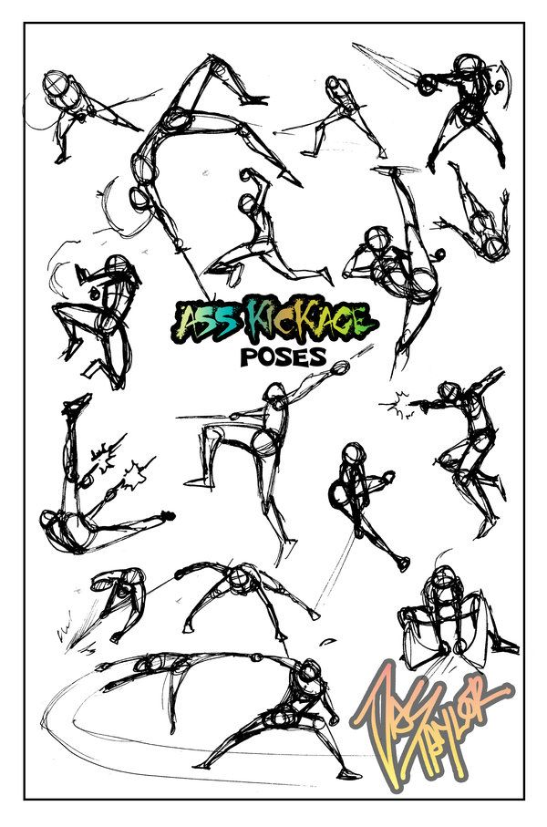 POSES- Ass Kickage FUN by *NebulaInferno [see artist's comment for more.]