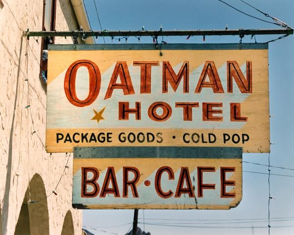 Oatman Hotel on Route 66 in Oatman Arizona. The town is ...