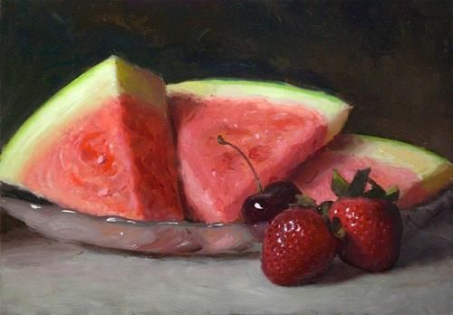 """Watermelon and Strawberries"" - Original Fine Art for Sale - © Debra Becks Cooper"