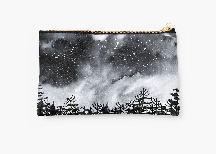 Watercolor and digital Forest and night sky. Black and white with a dark mood. • Also buy this artwork on bags, apparel, stickers, and more. Watercolor sky and trees. inspired by nature. @redbubble #watercolor #design #night #sky #art #watrcolor #artist #dark #night #nature #wanderlust #blackandwhite #mood #north #bag #fashion #makeup
