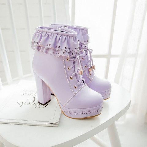 Vintage lolita fashion high-heeled boots http://valuedvintage.com