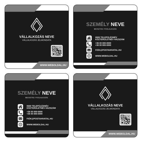 Üzleti névjegykártya másként  (ABC - Another Business Card) tervek (Inkscape - SVG formátum) Szürke / Fekete