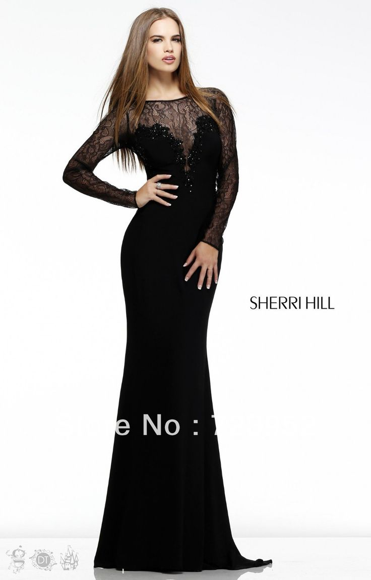 Long fitted dresses with sleeves