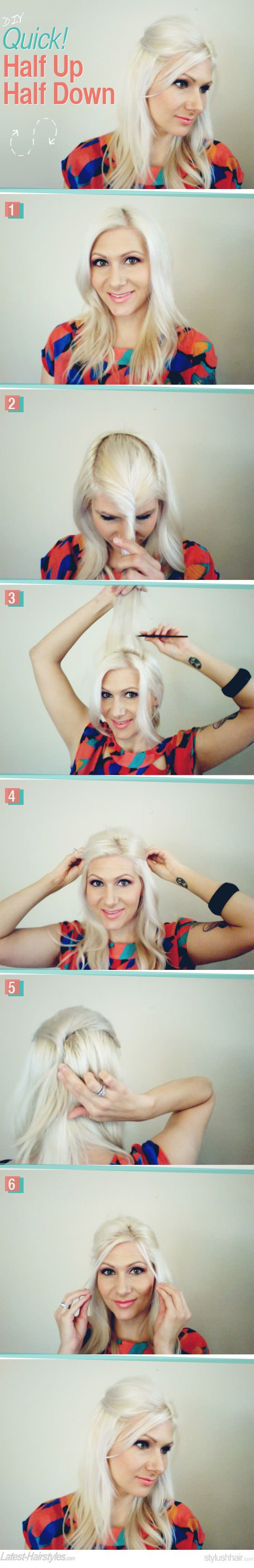 Get this super quick (and super cute!) half up look in 6 easy steps... http://www.latest-hairstyles.com/tutorials/quick-half-up-half-down-diy-hair.html