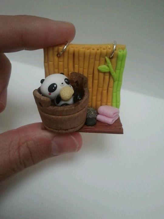 colgante oso panda porcelana fria fimo