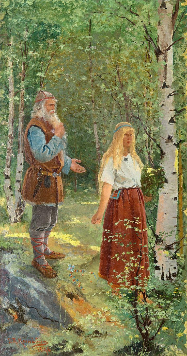 August Keinänen, Väinämöinen ja Aino, 1896, öljy 126x67 cm.
