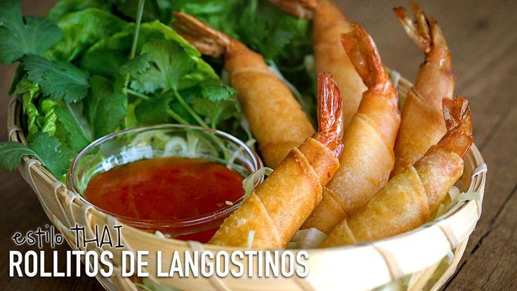 Rollitos de langostinos estilo Thai - Thai Crispy Shrimp Spring Rolls Re...