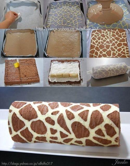 Giraffe Patterned Swiss Roll Cake recipe