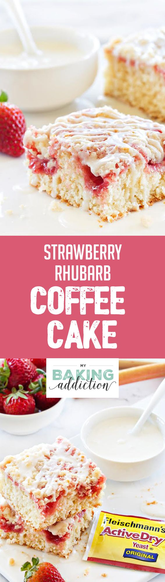 Strawberry Rhubarb Coffee Cake will be your Spring season's delight. Sweet and tart in every bite! Sponsored by Fleischmann's® Yeast.