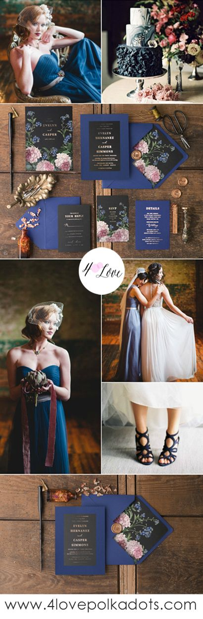 Wedding inspiration for deep color scheme wedding - Navy, Black & Gold with beautiful Flemish painting. Elegant wedding stationery with vintage touch #wedding