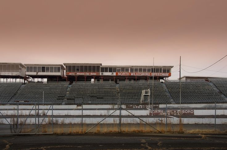 North Wilkesboro Speedway in North Carolina. Once a major venue in NASCAR, now left to nature.