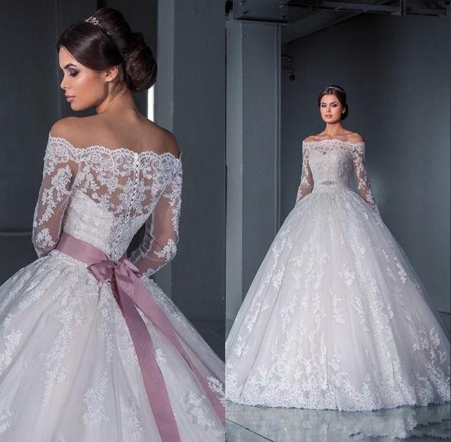 Роскошная бальное платье кружева свадебное платье 2015 off-плечу с длинными рукавами часовня поезд тюль аппликации бусины свадебные платья