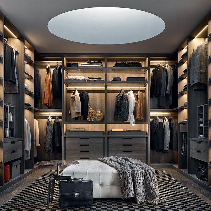 Contemporary walk-in wardrobe / melamine / with sliding door / with hinged door SENZAFINE Poliform