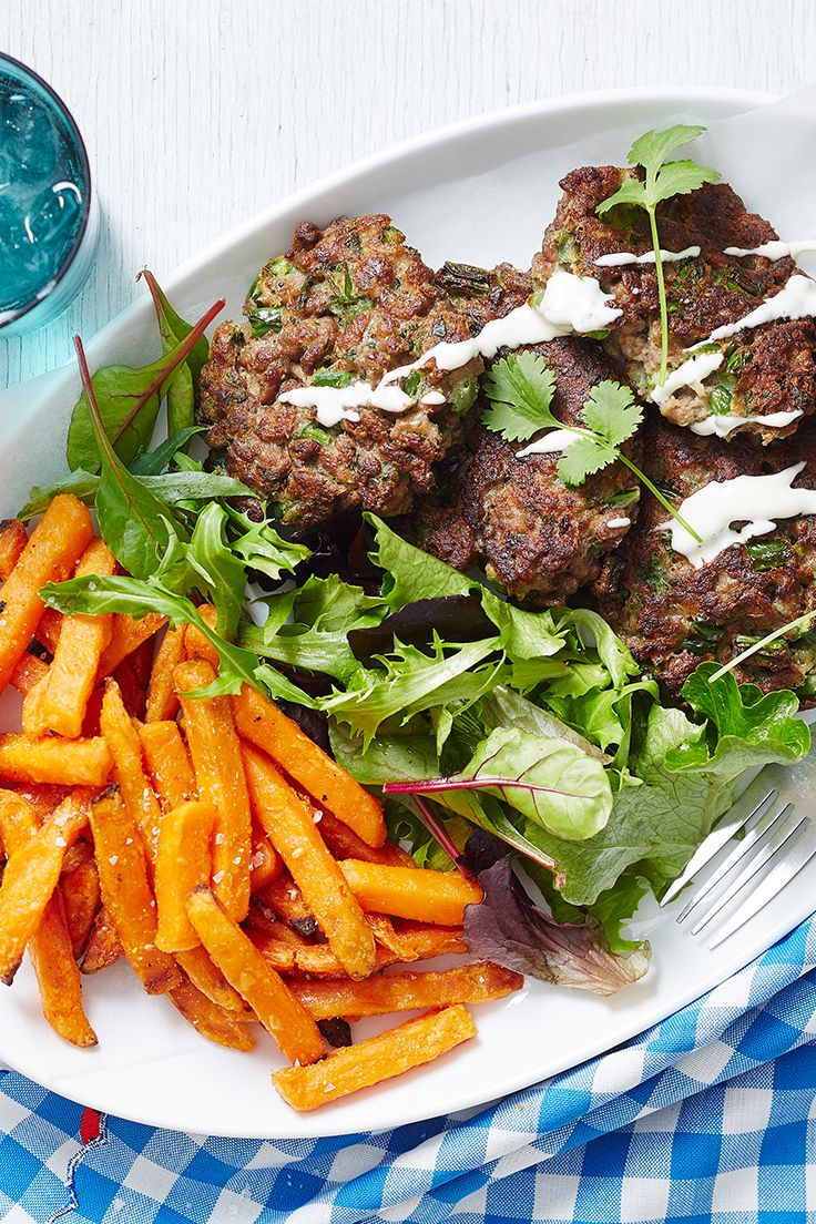Healthy spiced lamb patties served with sweet potato chips and aioli makes a wonderful light spring lunch or family dinner. Quick and easy, it's sure to become a go-to dish.