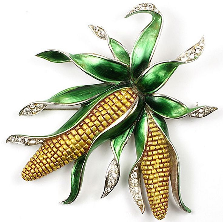 BOUCHER Metallic Green & Yellow Enamel Rhinestoned 'COB' Pin - Masterpiece!