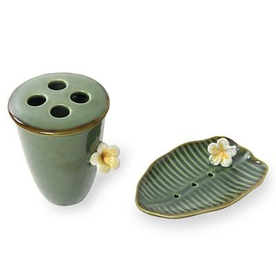 Handcrafted Ceramic Soap Dish and Toothbrush Holder Set - Tropical Frangipani | NOVICA