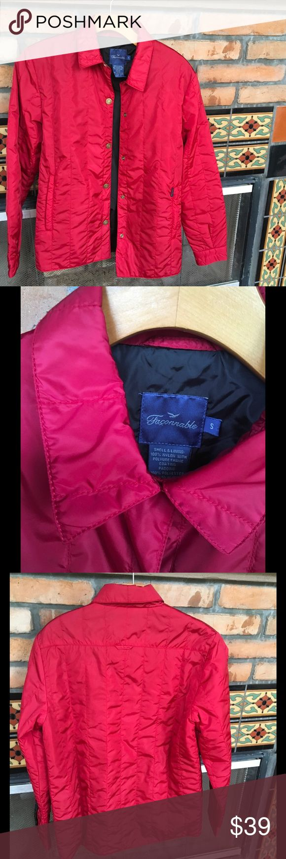 GORGEOUS DEEP RED FACONNABLE BARN COAT ALMOST NEW GORGEOUS RED QUILTED WATER RESISTANT COAT BY FAMED FRENCH DESIGNER FACONNABLE. faconnable Jackets & Coats Utility Jackets