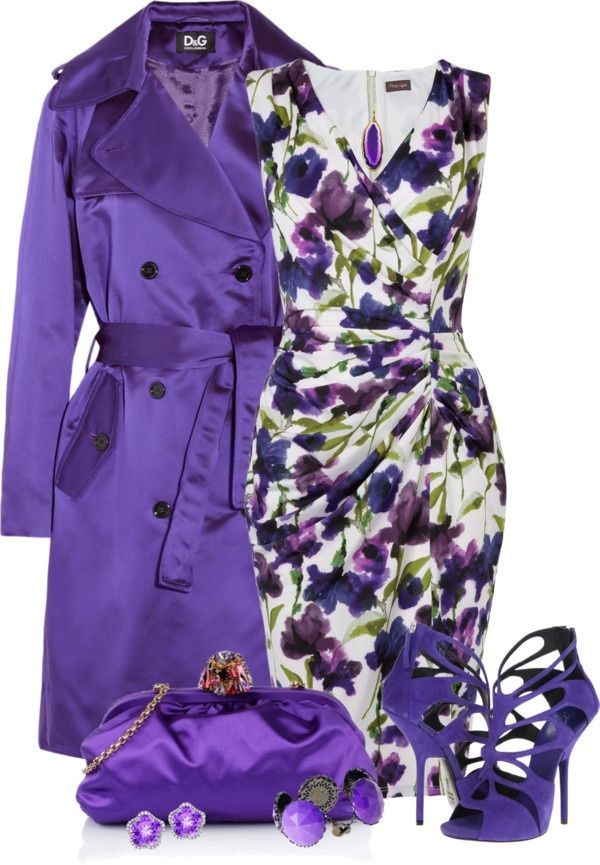 Your mom would be so cute in this purple floral coat dress ensemble