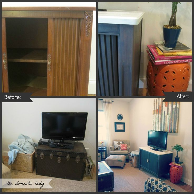 Thrift Store TV Cabinet Makeover: Shared Consignment, Cabinets Makeovers, Clearance Canvas, Canvas Art, Tv Cabinets, Thrift Stores, Stores Tv, Tv Stands, Home Improvements