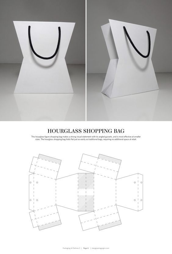 Hourglass Shopping Bag – FREE resource for structural packaging design dielines: