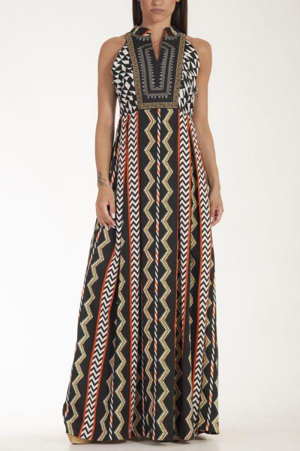 Φόρεμα μαύρο μακρύ με κέντημα Aztec στο στήθος και γεωμετρικά σχέδια γυναικείο glamorous