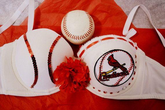 MLB Sports Themed St. Louis Cardinals Sequin Flower Baseball Bra STL *CUSTOM* By Jaypeacrafts #STLCards #Baseball #Cardinals #bra