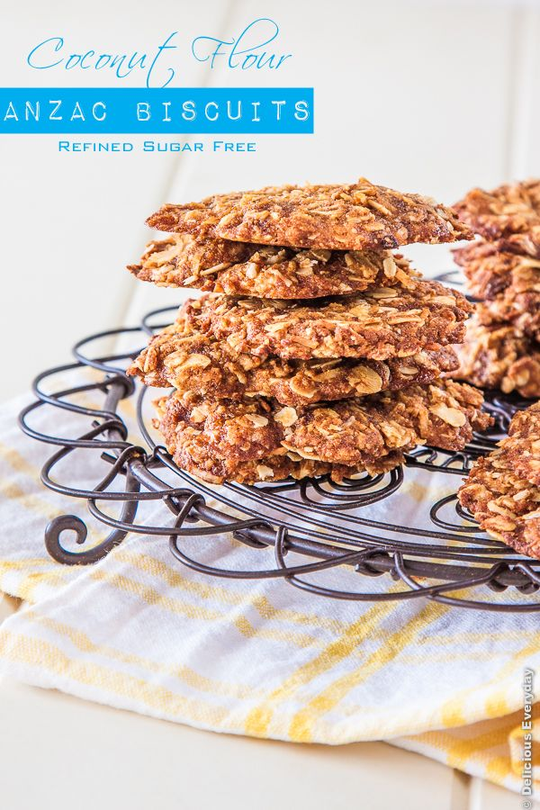 Coconut Flour Anzac biscuits recipe - refined sugar and dairy free #vegan | DeliciousEveryday.com