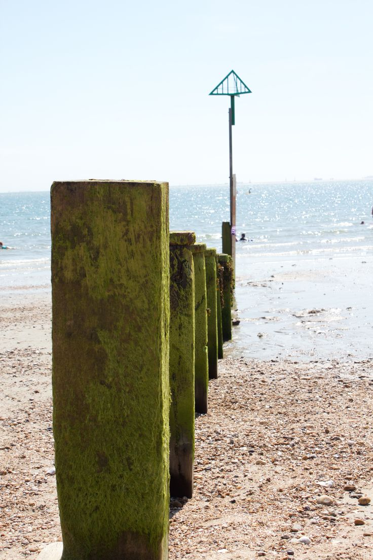 Beach poles in Hayling Island, UK