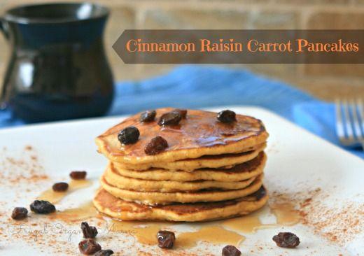 Cinnamon Raisin Carrot Pancake Recipe - sub in GF flour and you have a winner!
