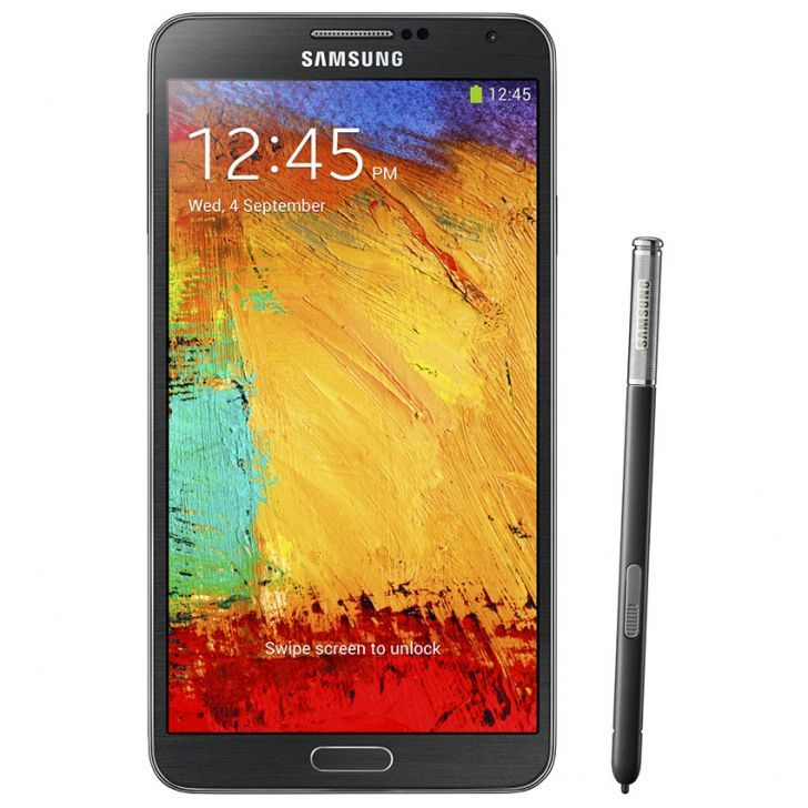 Samsung Galaxy Note 3 N900 in black. 13 mpx camera. Android OS 4.3 Jelly Bean. http://www.zocko.com/z/JHlfB