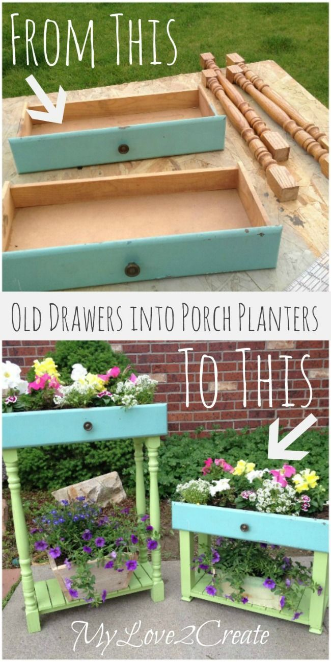 Old drawers in porch planters