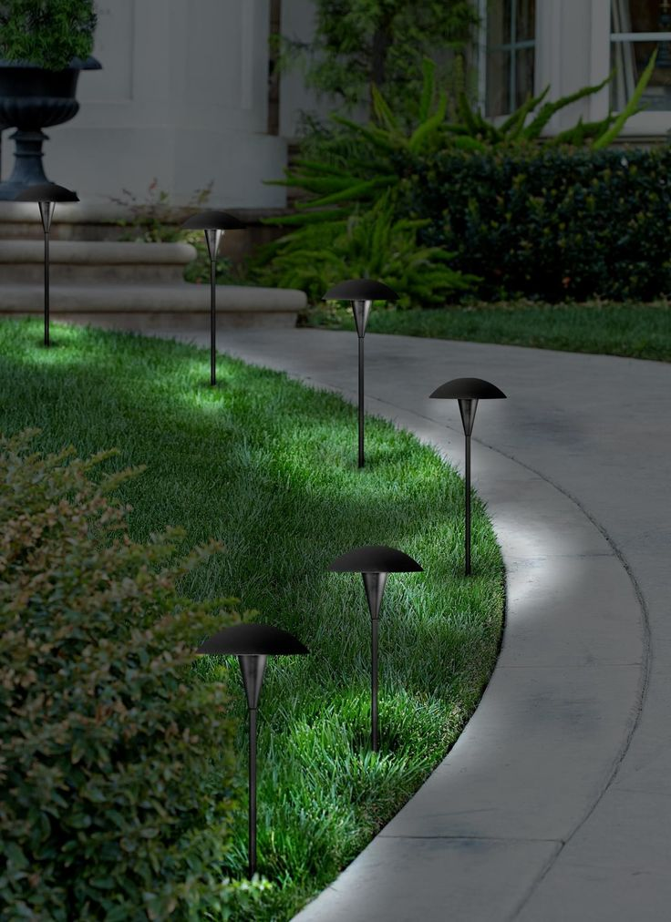 Mushroom Black 8-Piece Outdoor LED Landscape Lighting Set - #4W490-2C498-4W486 | Lamps Plus #LowVoltageLEDLandscapeLighting