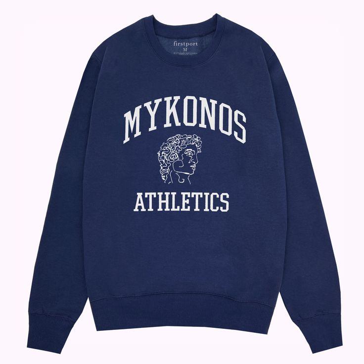 Mykonos Athletics Club Crewneck - Navy | Sweatshirts, Crew ...